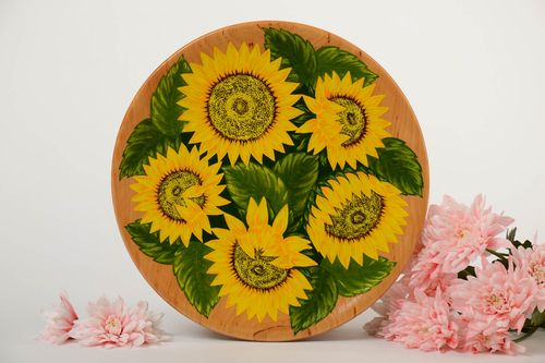 Handmade decorative light wooden wall plate with painting Sunflowers - MADEheart.com