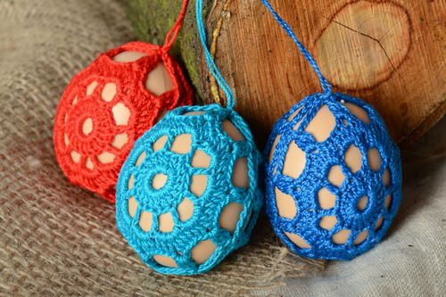 Decorative home interior pendant Easter eggs woven over with threads 3 items - MADEheart.com
