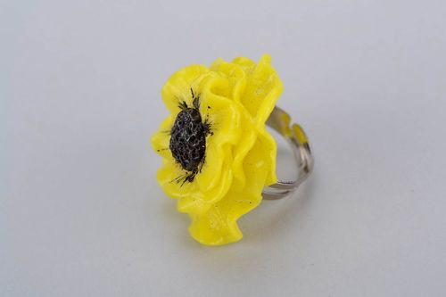 Ring of polymer clay with with flower - MADEheart.com