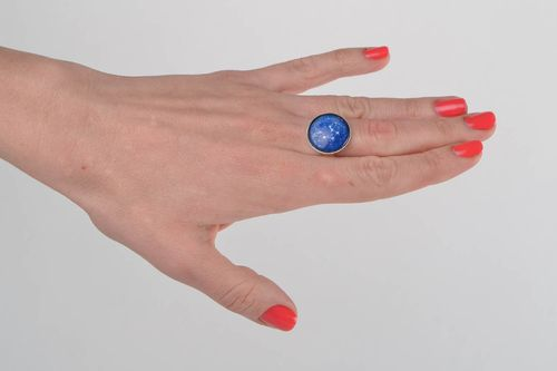 Unusual handmade glass round top ring on metal basis Libra zodiac sign - MADEheart.com
