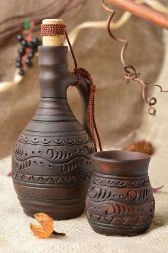 Beautiful brown handmade designer clay bottle and glass drinkware set 2 pieces - MADEheart.com