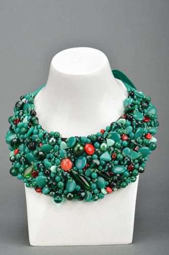 Beautiful volume handmade necklace with beads and stones and satin ribbons - MADEheart.com