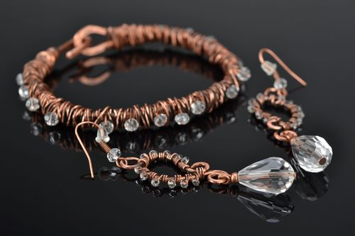 Wire wrap copper earrings and bracelet with crystal beads - MADEheart.com