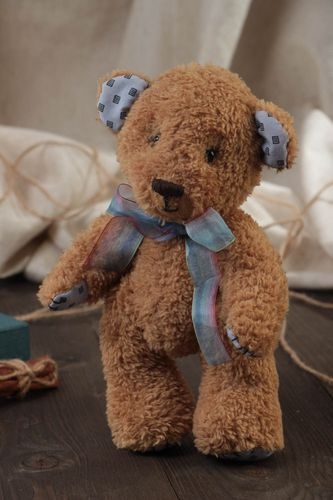 Handmade designer soft toy beige bear with blue bow for children - MADEheart.com