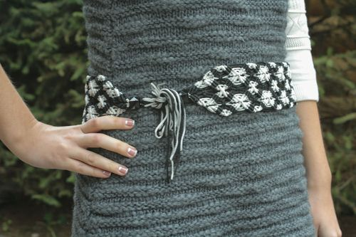 Wide macrame belt with ties - MADEheart.com
