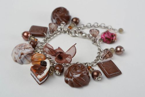 Beautiful handmade designer metal bracelet with polymer clay charms Sweets - MADEheart.com