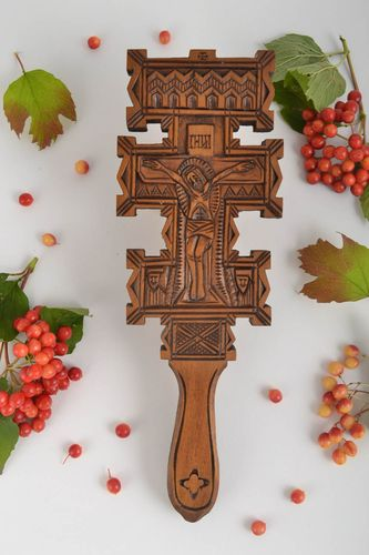 Handmade wall crucifix church supplies wood carvings home decor Christian gifts - MADEheart.com