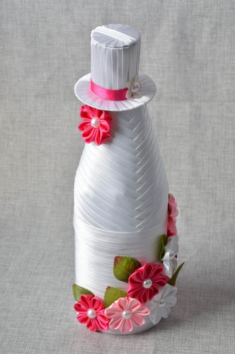 Unusual handmade champagne bottle decoration wedding decor bottle cover - MADEheart.com