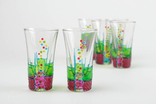 Handmade set of shot glasses unique glassware designer present kitchen decor - MADEheart.com