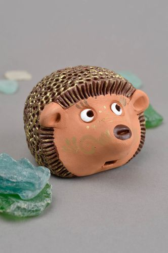Handmade cute penny whistle toy in shape of hedgehog bright clay souvenir - MADEheart.com