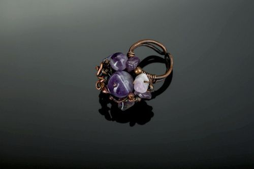 Ring from copper with amethyst - MADEheart.com