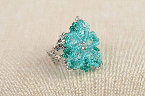 Handmade seed beaded ring flower accessory designer jewelry ring for woman - MADEheart.com