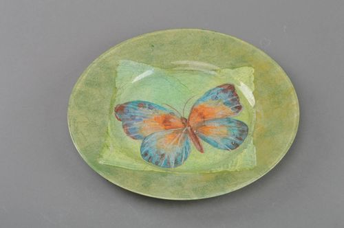 Handmade glass designer decoupage round plate wall table decoration Butterfly - MADEheart.com