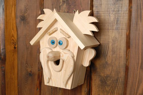 Handmade wooden birdhouse in the shape of bogie - MADEheart.com