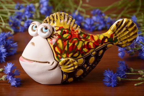 Small handmade semi porcelain money box painted with pigments colorful Fish - MADEheart.com