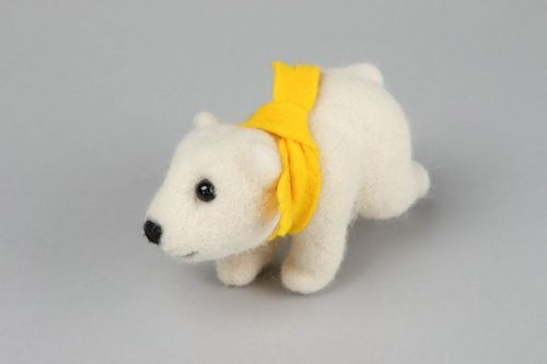 Soft toy made from wool White bear, felting - MADEheart.com