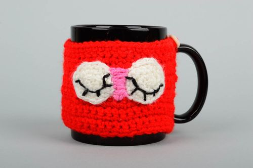 Handmade crocheted cup cover unusual present stylish designer case for cups - MADEheart.com