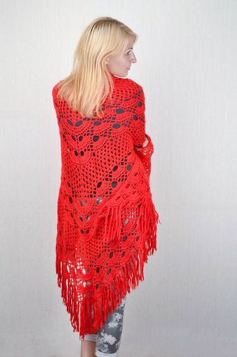 Handmade designer crocheted shawl unique winter clothes accessory for women - MADEheart.com