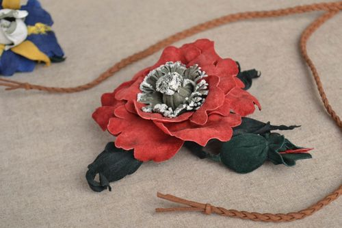 Handmade brooch made ​​of leather unique designer textile accessory for woman - MADEheart.com