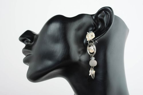 Elegant polymer clay cuff earrings Gray Clouds - MADEheart.com