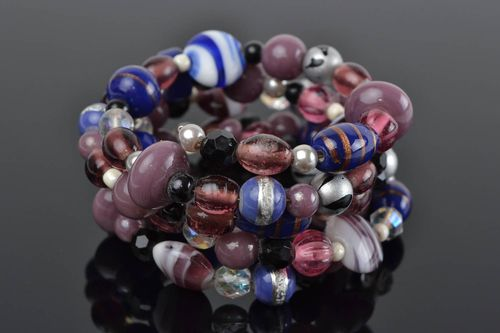 Handmade multi row wrist bracelet with glass beads in blue and violet colors - MADEheart.com