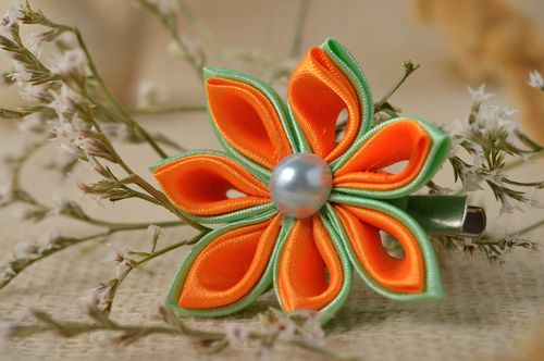 Beautiful handmade flower barrette hair clip flowers in hair accessories for her - MADEheart.com