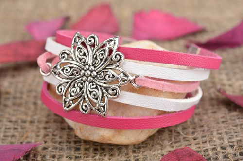 Handmade designer genuine leather wrist bracelet white pink with metal flower - MADEheart.com