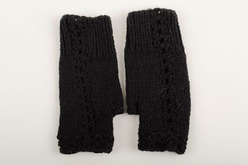 Handmade black female mitts stylish designer mitts knitted cute accessory - MADEheart.com