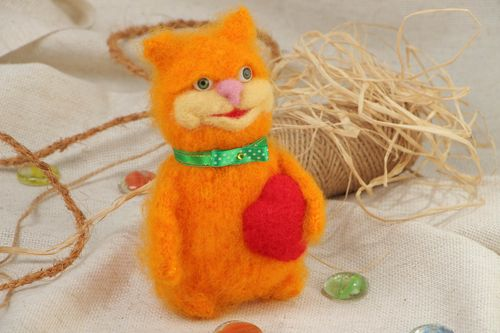 Handmade soft toy fluffy cat crocheted of bright orange mohair threads  - MADEheart.com