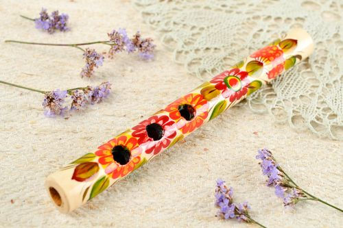 Wooden handmade penny whistle unusual home decor designer beautiful accessories - MADEheart.com
