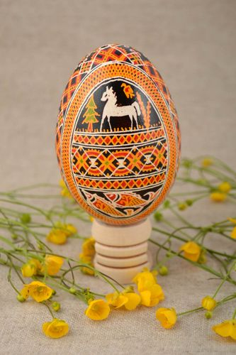 Handmade Easter decorative goose egg painted with acrylics with horses and fish - MADEheart.com