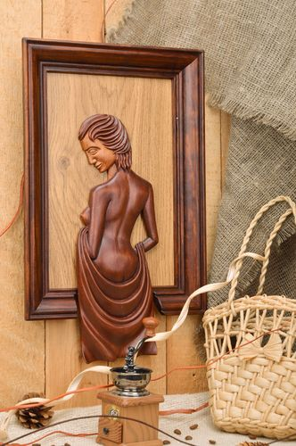 Handmade wooden panel with brown woman medium size wall decor - MADEheart.com