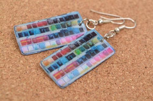 Handmade earrings with charms made of polymer clay and epoxy resin with decoupage - MADEheart.com
