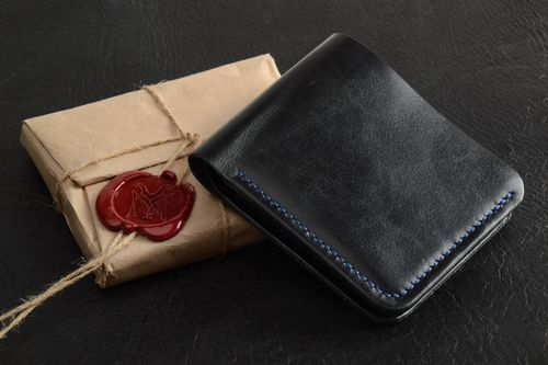 Homemade genuine leather wallet of black color with three departments for men - MADEheart.com