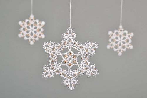 Lace Christmas tree decoration Golden snowflake - MADEheart.com