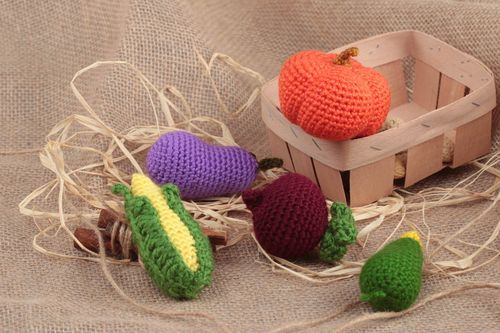 Set of 5 handmade acrylic crochet colorful soft toys vegetables for kids and decor - MADEheart.com