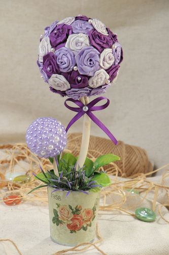 Handmade topiary made of satin ribbons tree of happiness in purple tones - MADEheart.com