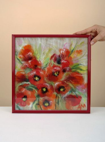 Wool painting Poppies - MADEheart.com