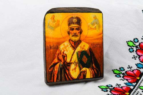 Handmade icon wooden icon of saints beautiful icon painted icon interior decor - MADEheart.com