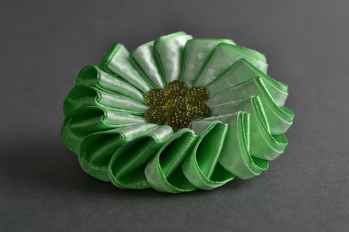 Handmade decorative hair tie with yellow green satin ribbon kanzashi flower - MADEheart.com