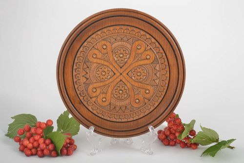 Decorative plate handmade home decor wooden gifts wall plate wall hanging - MADEheart.com