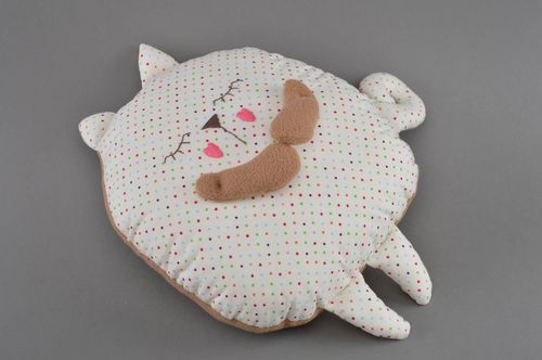 Beautiful handmade cotton fabric soft pillow pet dotted cat interior decor - MADEheart.com
