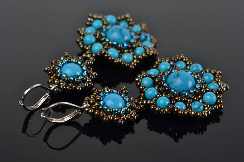 Beaded designer large earrings evening elegant handmade fancy accessory - MADEheart.com