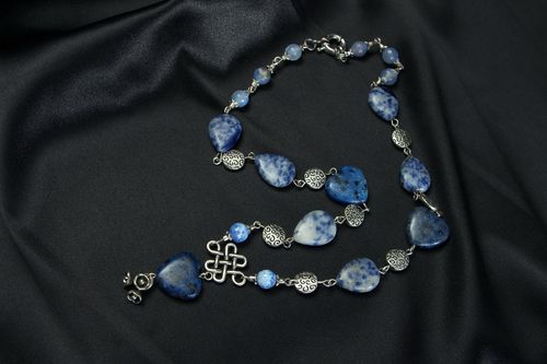Necklace with Agate and Aquamarine - MADEheart.com