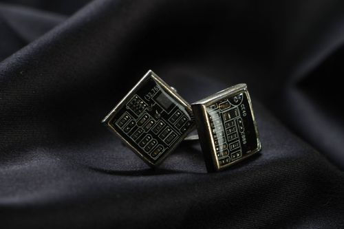 Metal cuff links of black color in steampunk style - MADEheart.com