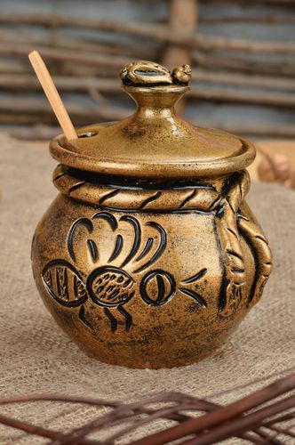 Beautiful homemade small painted clay honey pot with lid and spoon 200 ml - MADEheart.com