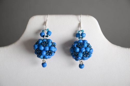Handmade designer ball shaped dangling earrings crocheted of blue Czech beads - MADEheart.com