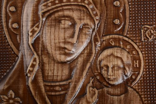 Handmade orthodox icon wooden carved accessories beautiful unusual interior - MADEheart.com