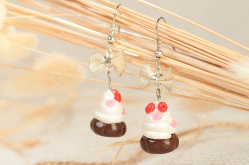 Handmade designer polymer clay dangling earrings with colorful cupcakes - MADEheart.com