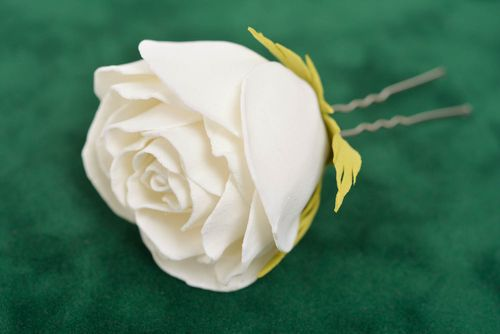Handmade decorative hair pin with metal basis and foamiran white rose flower - MADEheart.com